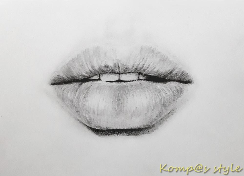 Как нарисовать губы девушки карандашом