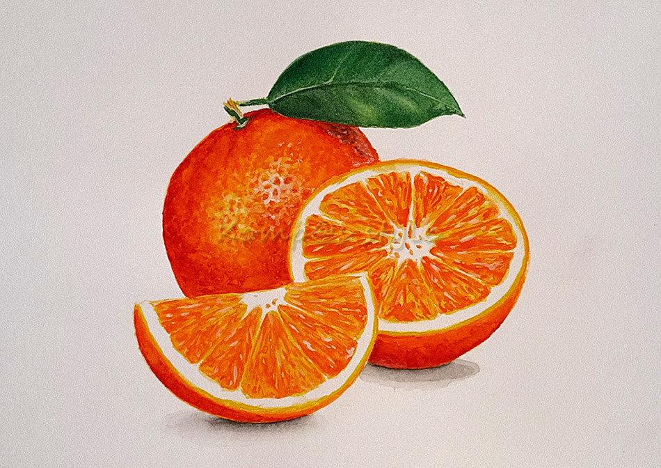Как нарисовать апельсин акварелью. Апельсин в разрезе