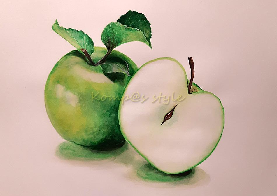 Как нарисовать зеленое яблоко акварелью. Яблоко в разрезе