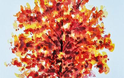 Как нарисовать осеннее дерево поэтапно