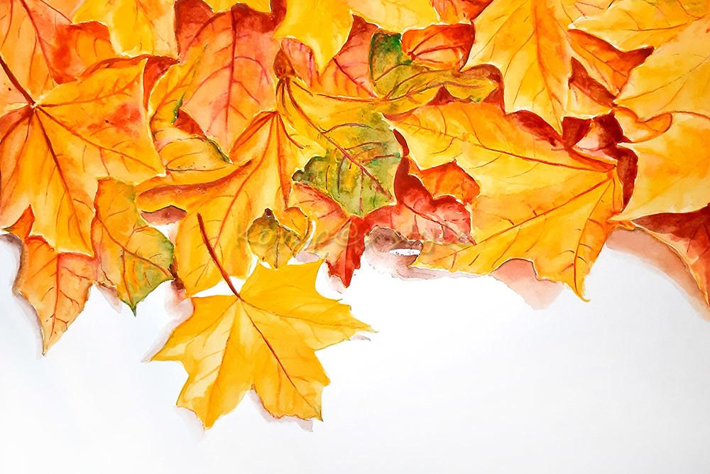 Как рисовать листья акварелью